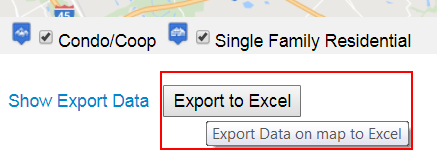 Export button below map